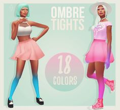 Cosmic Plumbob presents: Ombre Tights I loved the Hand Gradients by @habsims, and I thought: why not have those in the legs too? And then, these were born! They come in 18 colors (Pooklet + black and...