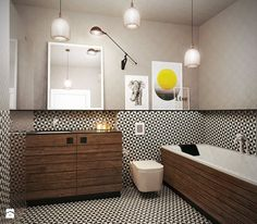 The patterned on floor and wall, the elements of and as well as the make this stand out! by Razoo-Architekci. Bad Inspiration, Bathroom Inspiration, Bathroom Interior Design, Modern Interior, Modern Bathroom, Master Bathroom, Bathroom Stand, Black White Bathrooms, Living Etc