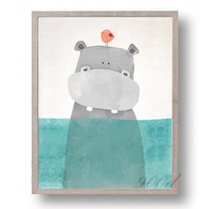 Modern Nordic Kawaii Animals Bear Hippo Penguins Poster Print Nursery Wall Art Picture Canvas Painting No Frame Kids Room Decor Frames For Canvas Paintings, Canvas Art Prints, Painting Prints, Wall Art Prints, Spray Painting, Art Paintings, Painting Art, Diy Canvas, Canvas Frame