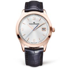 Master Control Date 18ct Pink Gold Silver Dial Automatic Men's Strap Watch