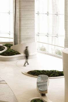Gallery of The Garden Pavilion / NCDA - 5 Lobby Lounge, Hotel Lobby, Garden Pavilion, Curved Walls, Waiting Area, Contemporary Landscape, Lounges, Interior And Exterior, Interior Design