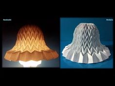 Tutorial 11 Paper Bell with miura fold. Tutorial 11 Paper Bell with miura fold Lampshade Bell Design Paper Bell Corrugated with miura fold Decor Lampshade Bell (optional) Upcoming projects. Origami Folding, Paper Folding, Origami Paper, Diy Paper, Paper Crafts, Book Folding, Paper Art, Origami Lampshade, Paper Lampshade