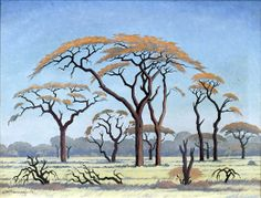Acacia Trees on the Veld by Jacobus Hendrik Pierneef or Pierneef ( 1886 Savanna Tree, African Paintings, Tree Paintings, Canvas Painting Projects, Bonsai Art, South African Artists, Acacia, Art For Art Sake, Art Auction