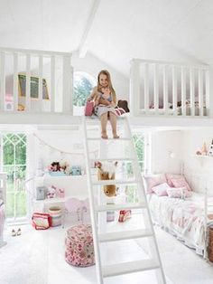 ladder loft girls room.  next house.  http://homemydesign.com/2013/cute-bedrooms-for-two-little-girls/