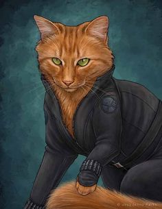 Black Widow Cat - San Francisco-based science illustrator Jenny Parks has creatively illustrated an adorable clowder of cats as comic book superheroes, villains and the zombie hunting badass Daryl Dixon from The Walking Dead Comic Book Superheroes, Comic Books, Crazy Cat Lady, Crazy Cats, Animals And Pets, Cute Animals, Image Chat, Avengers Characters, F2 Savannah Cat