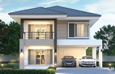 House design plan with 4 bedrooms - Home Design with Plan House Plans 2 Storey, Porch House Plans, Duplex House Plans, Two Story House Design, 2 Storey House Design, Bungalow House Design, Bungalow Floor Plans, Open Floor House Plans, Custom Home Plans