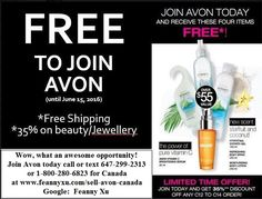 I am very excited to share with you that you can save 35% for Beauty Products and join Avon Canada FREE - A Limited Time Offer! There is no pre-payment, quota or inventory required. You can earn up to a 50% commission from your sales, or just save on your personal order. PM me or e-mail feanny.avon@yahoo.ca. www.feannyxu.com #joinAvon   #AvonCanada #FREEjoin #ALimitedTimeOffer #loveAvon #workfromhome #residualincome #MLM #directselling #networkmarketing #jobs #selfemployed #DreamBig