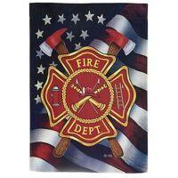 Custom Decor Inc Patriotic Firefighter House Flag