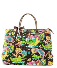 """Personalized Crocodile Brown 21"""" Quilted Tote Bag - Gifts Happen Here - 1"""