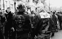 Punks at Sid Vicious memorial march, 1979, by Janette Beckman.
