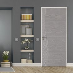 Sigma Pearl Grey Flush Door - Prefinished is ready for fitting, finish this with a pair of stunning handles to make it really stand out in a room.    #interiordesign #greyinterior