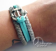 Layered Silver and Turquoise Anchor Bracelet