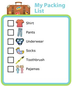 :A picture packing list is a great way to teach your kids important life skills! print now Printable Activities For Kids, Free Printables, Kids And Parenting, Parenting Hacks, Gentle Parenting, Kids Routine Chart, Printable Packing List, Kids Checklist, Chore Chart Kids