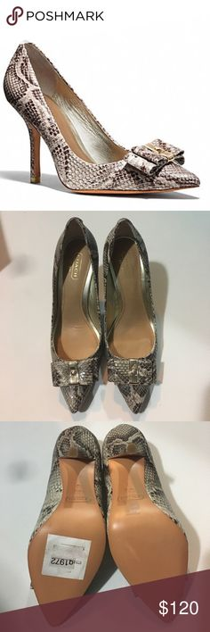 Coach Landrie Soft Printed Snack Heels Soft printed snack leather with dramatic bow. Heels high 3.75 inches. Brand new in the box. Coach Shoes Heels