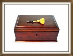Stylish 1920s Early Art Deco Solid Mahogany Jewellery Box  £275