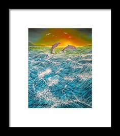 Framed Art Print,  seascape,dolphins,nature,ocean,scene,waves,water,fish,sunset,sunrise,rough,big,high,crashing,breaking,splashing,spray,blue,playful,jumping,beautiful,image,fine,oil,painting,contemporary,scenic,modern,virtual,deviant,wall,art,awesome,cool,artistic,artwork,for,sale,home,office,decor,decoration,decorative,items,ideas