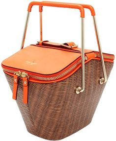Luxurious Picnic Basket from Kate Spade New York! I need this in my life like yesterday - handbags for less, cheap leather purses and handbags, ladies handbags on sale Sac Kate Spade, My Bags, Purses And Bags, Sacs Design, Design Design, Cheap Bags, Fashion Bags, Orange, Shoe Bag