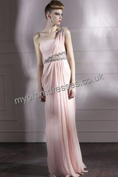 Floor Length One-shoulder Pink Satin A-line Evening Dress fes-0006