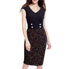 WOOSEA Womens V Neck Sleeveless Slim Casual Business Pencil Dress Medium  Black ** Click image to review more details.