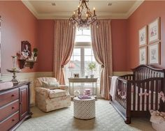 Gorgeous Pictures Of Baby Girl Nursery Rooms And Unique Wallpaper : Magnificent Pictures Of Baby Girl Nursery Rooms Using Brown Crib And Pink Wall Also White Patterned Single Couch