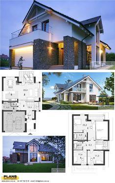2 Story House Design, House Gate Design, Modern House Design, 30x40 House Plans, Bungalow House Plans, Dream House Plans, German Houses, Futuristic Home, Model House Plan