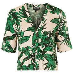TopShop Short Sleeve Tropical Print Shirt ($58) ❤ liked on Polyvore featuring tops, green shirt, topshop, short-sleeve shirt, short sleeve tops and topshop tops
