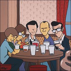 Sheffield Music Legends in Fagans by Pete McKee - This one shows Alex Turner [Arctic Monkeys], Jarvis Cocker, Tony Christie, Phil Oakey and Richard Hawley around a table in Fagans, the little pub on Broad Lane in Sheffield.