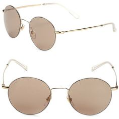 Gucci 52MM Round Aviator Sunglasses ($150) ❤ liked on Polyvore featuring accessories, eyewear, sunglasses, gucci, gold sunglasses, gold round sunglasses, gold glasses and rounded sunglasses