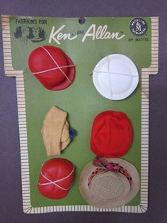 Barbie Ken Vintage Fashion Accessory Pak 6 Hats for All Ken Fashion 1962 New | eBay