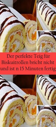 The perfect dough for biscuit rolls doesn& break and is in Der perfekte Teig für Biskuitrollen bricht nicht und ist in 15 Minuten fertig. The perfect dough for biscuit rolls doesn& break and is ready in 15 minutes. Chocolate Icing, Chocolate Coating, Best Pie, Flaky Pastry, Mince Pies, Cookies Et Biscuits, Food Cakes, Relleno, Tray Bakes