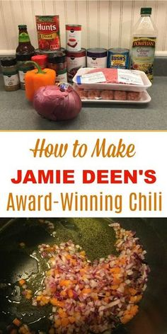 The best chili in the world! Jamie Deen's award-winning chili recipe, made with ground beef and sausage, 3 beans, and beer! Makes a delicious family dinner and is also great for a crowd. Beef Chili Recipe, Chilli Recipes, Healthy Recipes, Paula Deen Chili Recipe, The Best Chili Beans Recipe, Chili Cookoff Winner Recipe, Chili Recipe With Tomato Paste, Super Bowl Chili Recipe, Chili Recipe Made With Beer