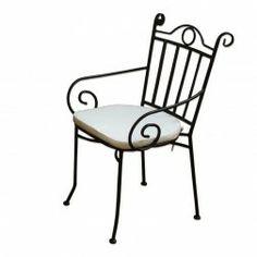 Silla jardin forja con brazos y cojin en Nuryba.com tu tienda de muebles y decoracion del jardin online