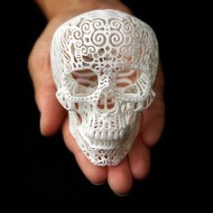 The most-funded scupltural object in Kickstarter's history, Joshua Harker transforms the scribbles of his subconscious into decorative, Surrealist pieces. At the crossroads of high art and technology, this skull filigree is constructed using a powerful, precision-cutting 3D printer.