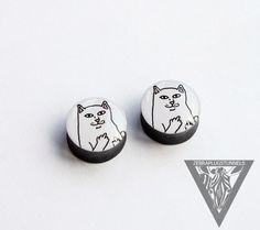 Sale Gauges Go away cat image ear plugs by ZebraPlugsTunnels