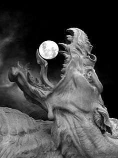 "In Norse mythology, Hati Hróðvitnisson (first name meaning ""He Who Hates, Enemy"" is a warg that according to Gylfaginning chases the Moon across the night sky, just as the wolf Sköll chases the Sun during the day, until the time of Ragnarök when they will swallow these heavenly bodies, after which Fenrir will break free from his bonds and kill Odin. Hatí is possibly alluded to in Völuspá as ""moon-snatcher"". --wikipedia"