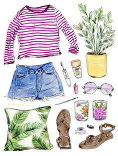 August 2017, fashion illustration, Cindy Mangomini cute fashion drawing, summer outfit style.