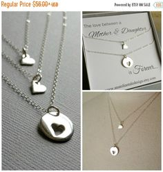 SALE Mother Daughter Necklace Set Heart by anatoliantaledesign
