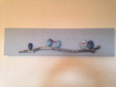 Tableau galets oiseaux bois flott fond gris touches bleu for Bois flotte grossiste