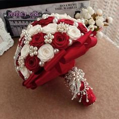 Elegant Customized Bridal Wedding Bouquet With Pearl Beaded Brooch And Silk Roses,Romantic Wedding Colorful Bride 's Bouquet Wedding Brooch Bouquets, Bride Bouquets, Flower Bouquet Wedding, Boquet, Small Wedding Bouquets, Bridal Flowers, Satin Ribbon Roses, Silk Roses, Red And White Weddings