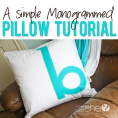 Beautiful Monogrammed Pillow  #howdoesshe #monogrammedpillow #diypillow #creativepillow #easypillow #giftideas #homedecor howdoesshe.com