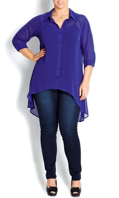 City Chic - COBALT HI LO SHIRT - Women's plus size fashion