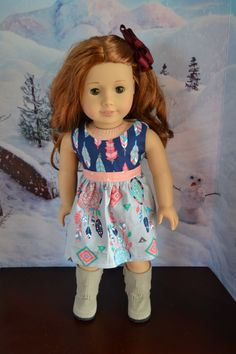 Dream catcher dress by  camelotstreasures on Etsy. Made using the Colorblock Dress pattern, available at http://www.pixiefaire.com/collections/heritage-doll-fashions/products/colorblock-dress-18-doll-clothes. #pixiefaire #colorblockdress