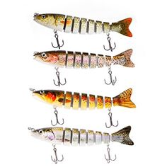 "YOMORES 5"" 7 Jointed 0.7oz Life-like Swimbait Hard Fishing Lure Bass Bait for Saltwater Freshwater (C5, 5 inches) ** Details can be found by clicking on the image."
