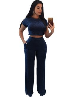 Short Sleeve Ribbed Wide Legs Pant Set_Pant Set_Women Set_Sexy Lingeire   Cheap Plus Size Lingerie At Wholesale Price   Feelovely.com