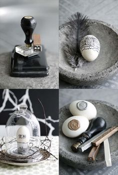 Inspiration bottom right photo: wax seal Easter eggs.