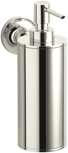 The KOHLER Purist Wall-Mount Metal Soap Dispenser in Polished Chrome features premium metal construction for durability and reliability. It is suitable for wall mount type installation. It is an essential choice for your bathroom decor. Kohler Faucet, Kohler Purist, Faucets, Wall Mounted Soap Dispenser, Soap Dispensers, Bathroom Countertops, Bathroom Accessories Sets, Plumbing Fixtures, Liquid Soap