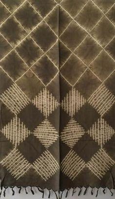 Aranya Naturals Silk Scarf - Color Block Shibori dyed with Eupatorium