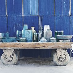 Love the various blues, shapes and textures together like a still life.