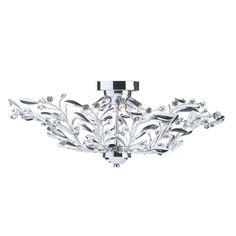 Searchlight 5256-6CC Lima Chrome 6 Light Semi-Flush Crystal and Glass from Dushka Ltd, London, UK.