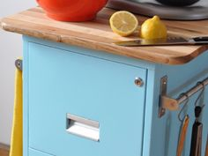 Repurpose a Filing Cabinet to Make a Rolling Kitchen Cart {casters and butcher block}